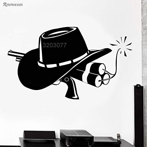 zqyjhkou Cowboy Pistole Und Hut Wild West Western Wandaufkleber Vinyl Wohnkultur Wohnzimmer Jugendliche Schlafzimmer Wandtattoos Dekoration Wandbild Gu03 S 57x33 cm