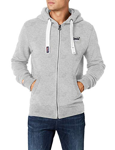 Superdry Herren Sweatshirt Orange Label Ziphood, Grau (Grey Marl07q), Small