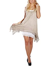 Romantisches Sommerkleid Strandkleid Spitze (Beige)