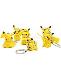 Pokemon Go Pokeball Set Of 6 Pcs Random Pikachu Action Figure Keychain/Keyring