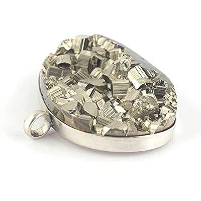 Pendentif de minéral cube de Pyrite serti d'argent 925, 23x35x8 mm