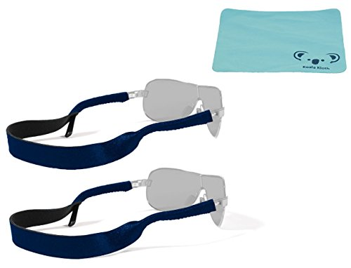 Croakies Original Neopren Einstellbare Sicherheitsbrillen, Brillen, Sunglass Halterung, Sportband, Band, Cord, Neck Holder (2x) Bundle mit Koala Gläser Kloth - Navy Blue (Brillen Croakies)
