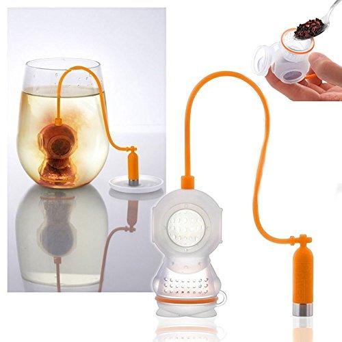 TEE Filter CREATIVE Silikon Diver Teebeutel Teaware–hitzebeständig Tee durchlässig Tee getrennt orange (Sauerstoff-flasche-tasche)
