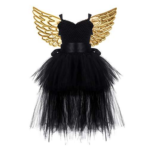 Amosfun Kinder Halloween Kostüm Tutu Schwarz Kleid mit Golden Engelsflügel Party Kostüm (Kleiner Engel Kind Kostüm)