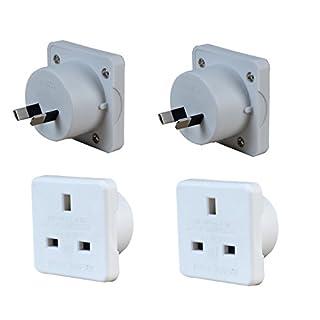 Invero® 2x Pack of UK to Australia Australian New Zealand Tourist Travel Plug Power Mains Adaptor - White