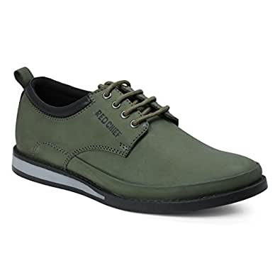 Red Chief Men's Olive/Green Leather Boat Shoes - 6 UK/India (40 EU)(RC3485 014)
