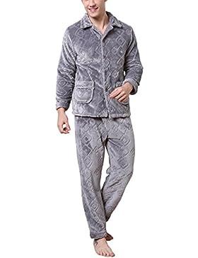 Dolamen Pijamas para Hombre Franela, Hombre Pantalones de pijama largos Primavera Suave y suave, Hombre camisones...