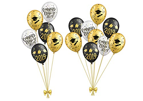 SUNBEAUTY Abschlussfeier Luftballons Graduation Dekoration 2019 Graduierung Party (15er Set)