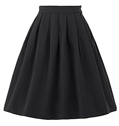 Pleated Skirts for Women Knee Length Swing Full Circle Solid