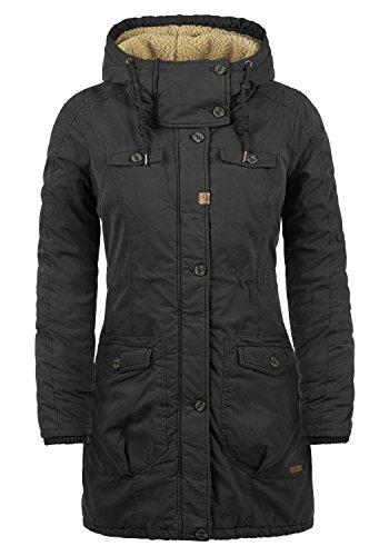 DESIRES Lewke Damen Parka lange Jacke Wintermantel mit Kapuze und Teddy-Futter aus hochwertiger Baumwollmischung, Größe:L, Farbe:Black (9000)