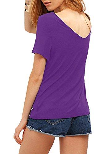 Match Damen Sommer Kurzarm T-Shirt V-Ausschnitt Tops 137 Violett