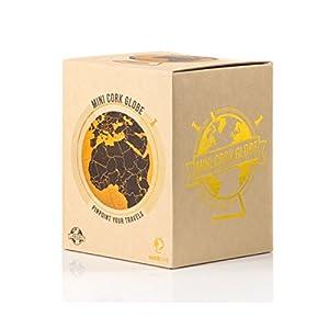 Suck UK Globo Terráqueo Pequeño | Bola del Mundo De Corcho Diseño En Negro| Decoración del Hogar, Color, 14x14x18 cm (SK CORKGLOBE2)