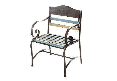 Kobolo Gartenstuhl Stuhl mit Armlehne Vintagestuhl Metallstuhl
