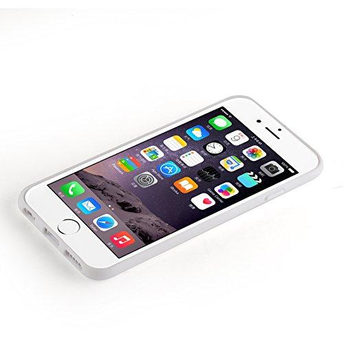 JAMMYLIZARD | Ultra Slim Silikonhülle für [ iPhone 6 & 6s 4.7 Zoll ] mit Tarnmuster, ROT / PINK / GRAU 3D Glam - goldenes KLEID auf WEIß