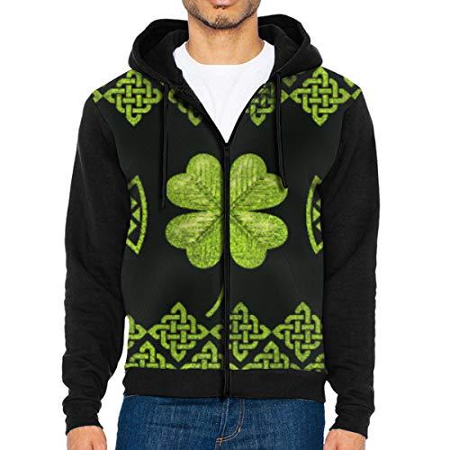 Nicegift Irish Shamrock Four-Leaf Clover with Celtic Decor Men's Full-Zip Hoodie Jacket Sweatshirt XXL Irish Womens Zip Hoodie