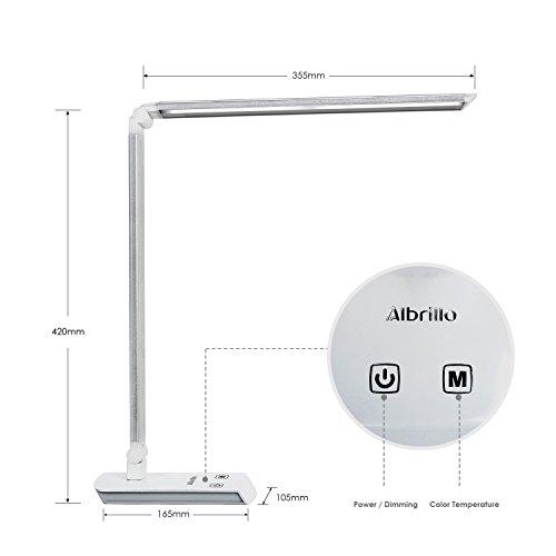 Albrillo-Lampada-da-tavolo-pieghevole-60-LED-in-argento-satinato-Illuminazione-Dimmerabile-con-4-livelli-di-luce-LED-ad-alta-qualit-di-risparmio-energetico-4W-11W