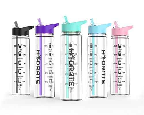 HYDRATE Motivational 900ml Straw Water Bottle - with Time Markings, BPA-Free (Mint Green)