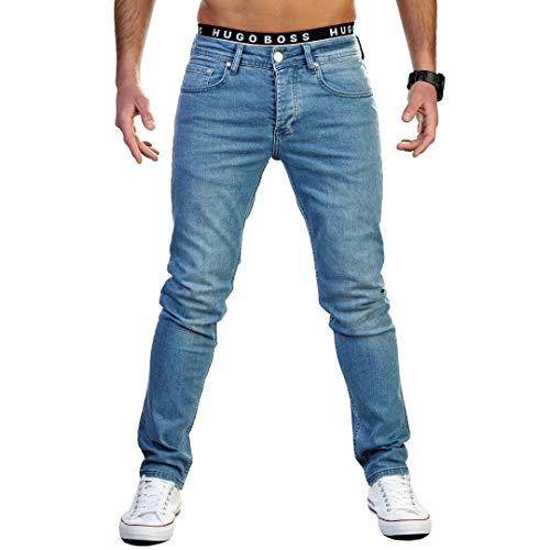 Gelverie Herren Hose Jeans for Man I Jeanshose Slim Fit I Für Männer I Leichter Stretch I Light Blue Denim, W33 / L30