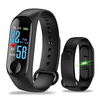 qihong Rastreadores de Fitness a Prueba de Agua IP68, Pantalla táctil a Color Rastreador de frecuencia cardíaca Reloj para Ejercicio Podómetro de presión Arterial Compatible con Android iOS
