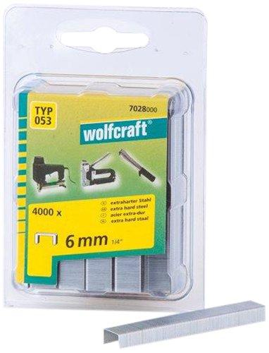 Wolfcraft 7028000 Lot de 4000 agrafes larges en acier extra dur Type 53 6mm