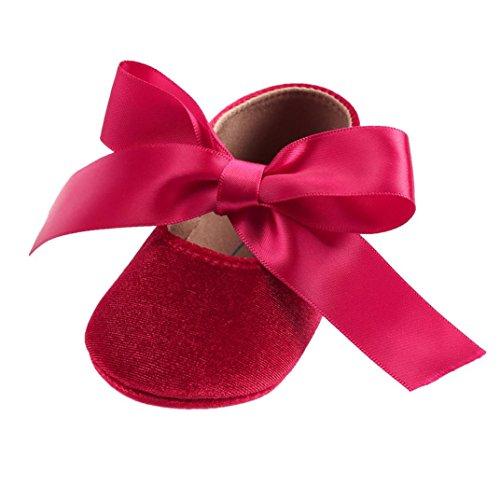 Kingko Bébé fille princesse velours chaussures Bowknot mode Toddler premiers marcheurs Chaussures