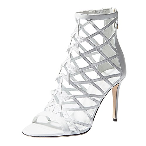 Onlymaker Damen Open Toe Peep Toe Römersandalen Stiletto High-Heels mit Reißverschluss Weiß