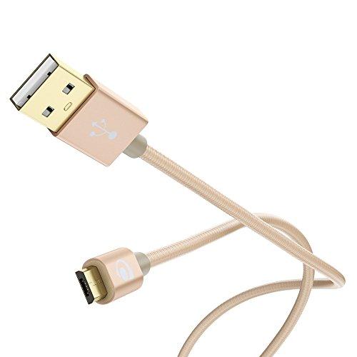 3m Micro USB Kabel von NICA, Stabiles Nylon umflochtenes Sync Handy High Speed Ladekabel/ Datenkabel für z.B. Android Smartphones, Samsung, Huawei, HTC, LG, Sony, Nokia, Motorola etc. - Gold