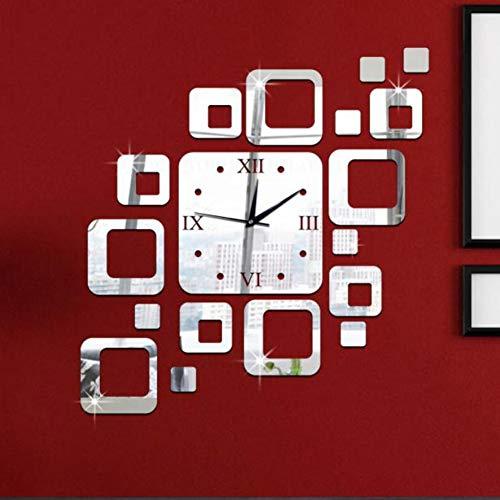 el Silber Wandaufkleber Uhr Modernes Design Home Decor Watch WandaufkleberWandbild Kunst ()