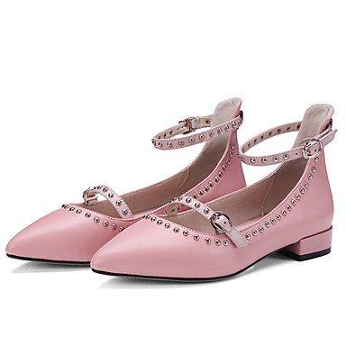 Wuyulunbi@ Scarpe Donna Primavera Estate cinturino alla caviglia Appartamenti Bassa tallone punta Rivetto per l abito nero rosa Rosa
