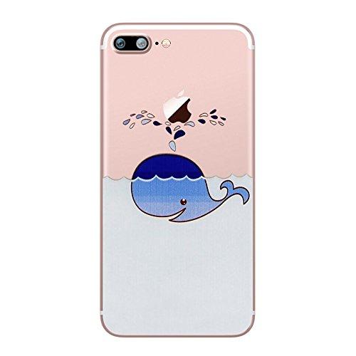 Preisvergleich Produktbild iPhone 7 Plus Hülle, UCMDA Transparent Weiche Silikon Hülle Muster TPU Case, Ultra Dünn Kratzfeste and Schützt vor Schmutz Schutzhülle Handyhülle für iPhone 7 Plus (5,5 Zoll) - Blauwal
