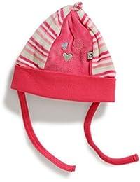 Mütze mit Bindeband Sweet Home für Mädchen himbeere/ringel
