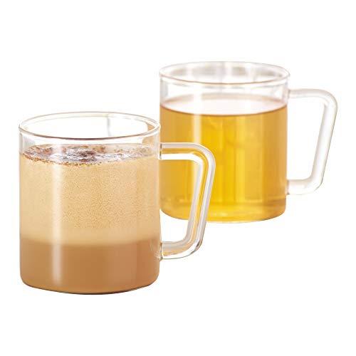 BOROSIL Classic Delite Tassen | 305ml | 2er Set | Aus Borosilikatglas | Bleibt klar | Hitzebeständig | Spülmaschinenfest