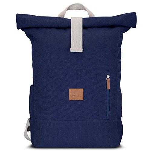 Johnny-Urban-Roll-Top-Rucksack-aus-Baumwoll-Canvas-Blau-Hochwertiger-Damen-Herren-Daypack-aus-Segeltuch-Lssiger-Vintage-Tagesrucksack-fr-den-Alltag-Wasserabweisend-sehr-flexibel