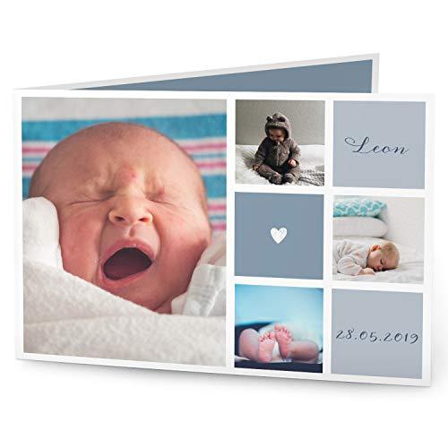 greetinks 60 x Geburtskarten \'Mitten ins Herz\' in Blau   Personalisierte Karten zur Geburt zum selbst gestalten   60 Stück Babykarten Dankeskarten
