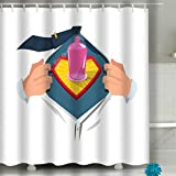 Fabric Shower Curtain - Spa, Hotel Luxury, Heavy Duty, Water Repellent 60'x72' Man Open to Show Condom Symbol Comic Style Safe Sex s