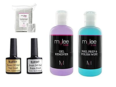 Bluesky Top & Base With Mylee Prep Wipe & Remover UV LED Kit Nail Gel Polish Soak Off NEW