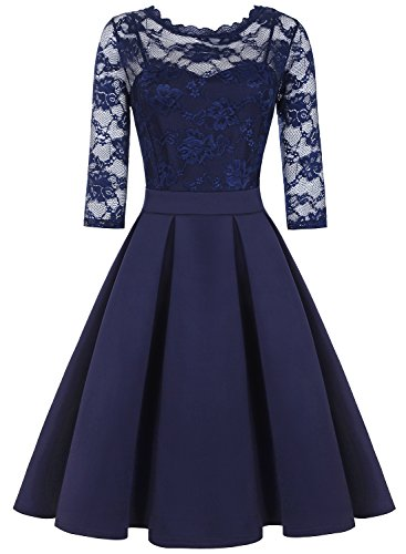 ihot Damen Elegant Cocktailkleid Spitzen 2/3 Arm Vintage Kleid Brautjungfer 50er Jahr Abendkleid
