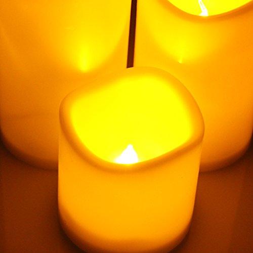 Jayboson LED Velas Decorativas con luz Flickering Eléctrica Blanco Cálido con Llamas sin Humo Seguro y Porteger Candle LED Light Ideal Para Votive Casa Festival Navidad Celebracion Decoración [Set of 3]