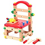 Jacootoys Panchina in Legno Costruttore Fai-da-Te Set di Costruzione di Dadi e bulloni Assemblaggio Giocattoli educativi Regalo per Bambini