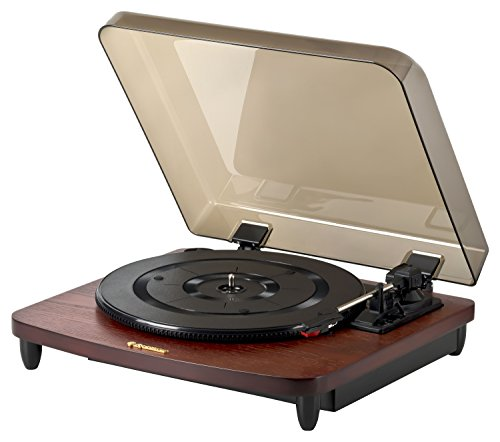 Roadstar TT-380 BT-T Retro Plattenspieler mit Bluetooth (33/45/78 RPM, Auto-Stop, Auto-Return, Line-Out) mahagoni-farben
