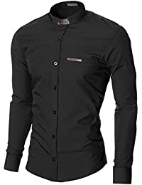 MODERNO Col Mao Manches Longues Chemise Homme (MOD1427LS)