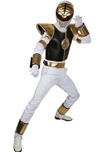 tüm Anzug Cosplay Erwachsene Herren Outfit Fancy Dress Kleidung mit Hose Gürtel Rüstung (White Power Ranger Kostüm Erwachsene)