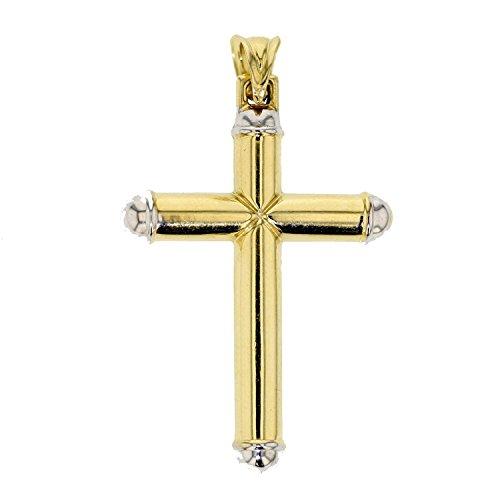18 Karat 750 Gold Großen Kreuz Anhänger Gelbgold Weißgold Bicolor 43 x 32 mm