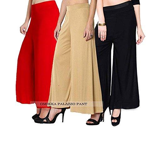 Omikka Comfort Fit Malia Lycra Plain Pant Palazzo/for Women's Combo Pack-3 (Free...