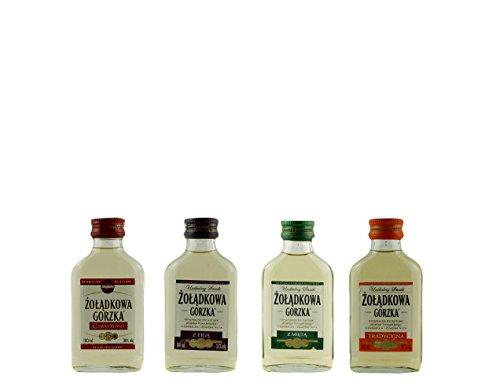 Geschenkset 4 Żolądkowa Gorzka Sweet Minis in der Probiergröße | Polnischer Wodka | je 0,1 Liter
