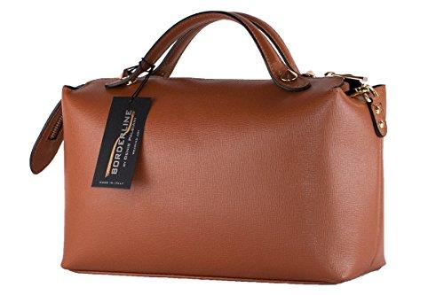 BORDERLINE - 100% Made in Italy - Borsa rigida da Donna in Vera Pelle - GIORGIA Color Cuoio