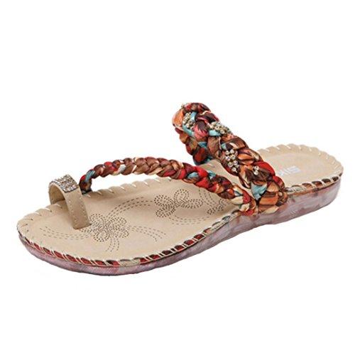 Bescita Frauen Sommer Boho Flip Flops Sandalen Casual Keil Clip Toe Badeschuhe Rote