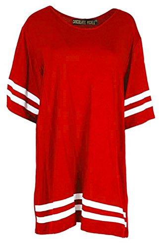 Neue Frauen in ÜbergrößeCap Sleeve Varsity Gestreifte sackartiges T-Shirt Oberteile 36-50 Red