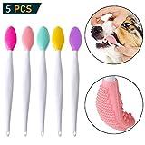 OneBarleycorn - 5er-Pack Hundezahnbürsten, doppelseitig, weiches Silikon, sanfte Zahnbürsten mit gebogenem langem Griff, für Welpen, kleine und mittelgroße Hunde, Katzen