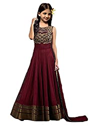 S R Fashion Girls Newly Launch Net Shalwar Suit With Embroidery Work (Kids Designer Maroon_Copper_Dress With Dupatta Copper Kids 001)